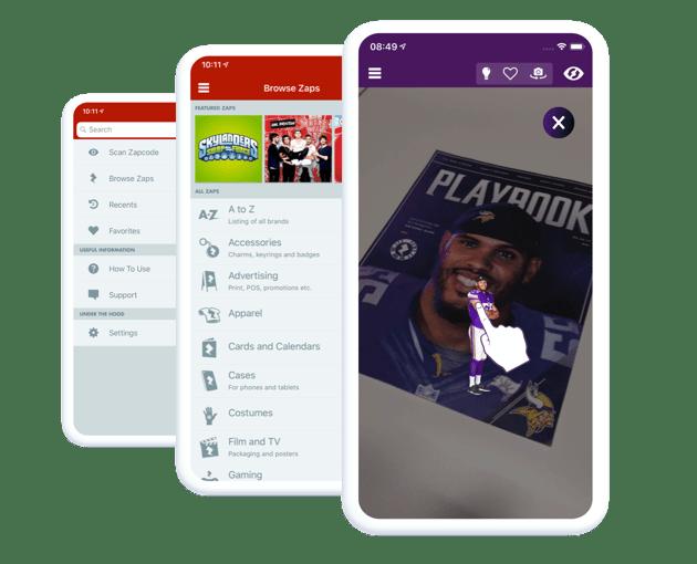 Zappar app screens